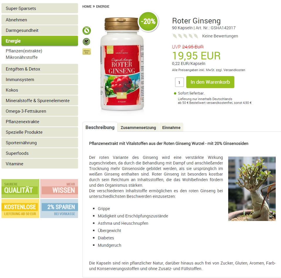 Produktinformationen greenSUPPS