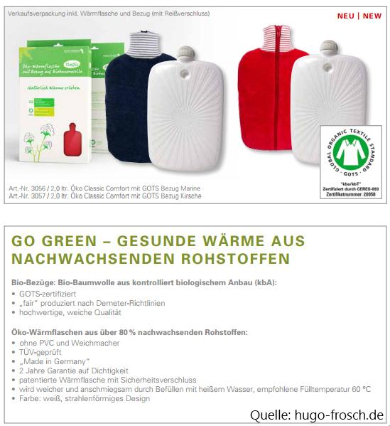 Bio-Bezüge Wärmflasche Hugo Frosch