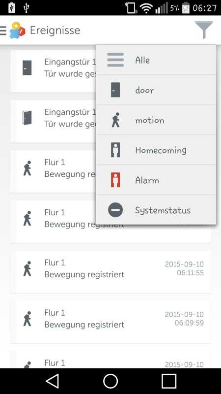Gigaset-Elements-App-Ereignisse-Filter
