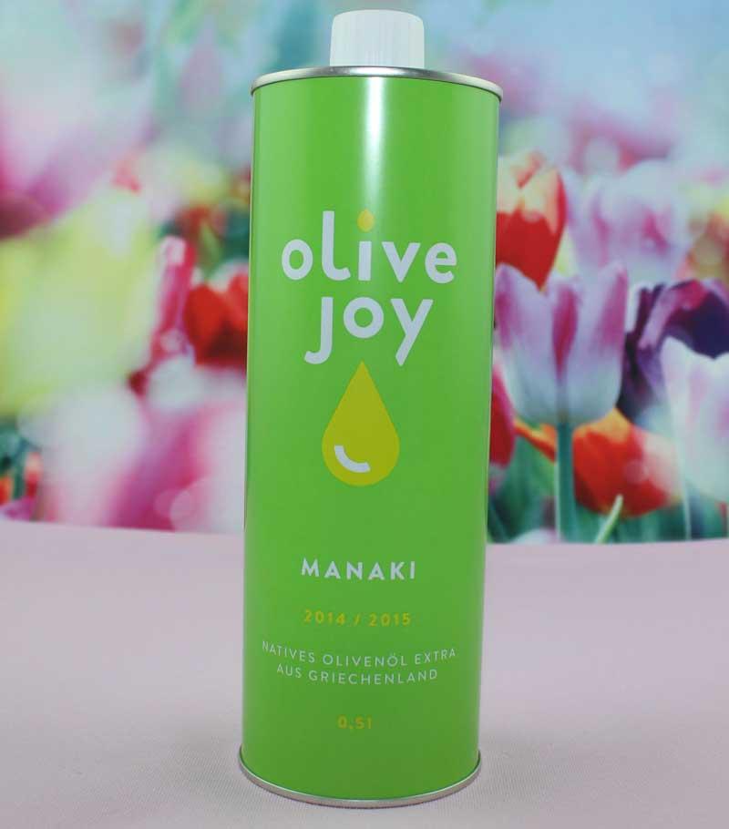 Olive Joy Manaki extra natives Olivenöl DieCheckerin.de