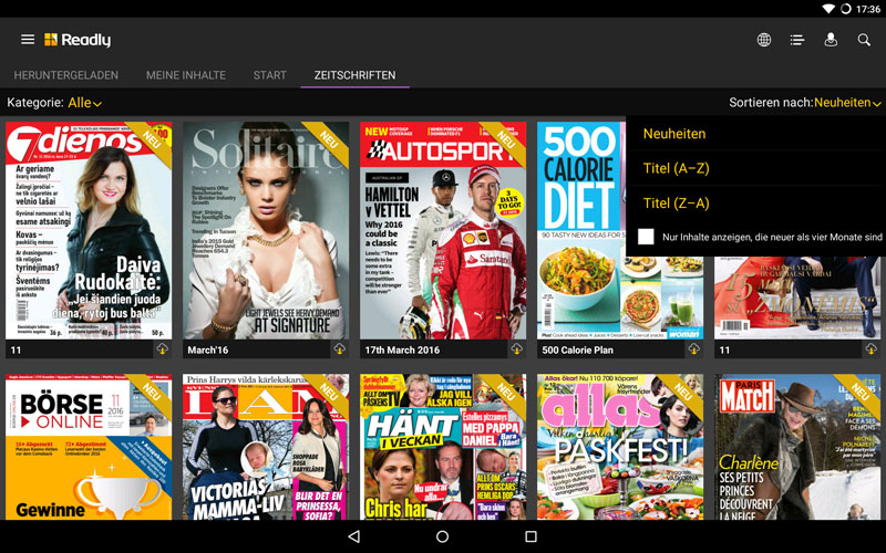 Zeitschriftenkatalog-Readly