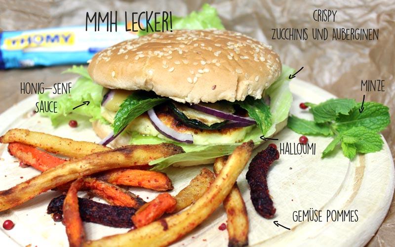 Halloumi Burger mit Gemüse Pommes und Honig Senf Sauce