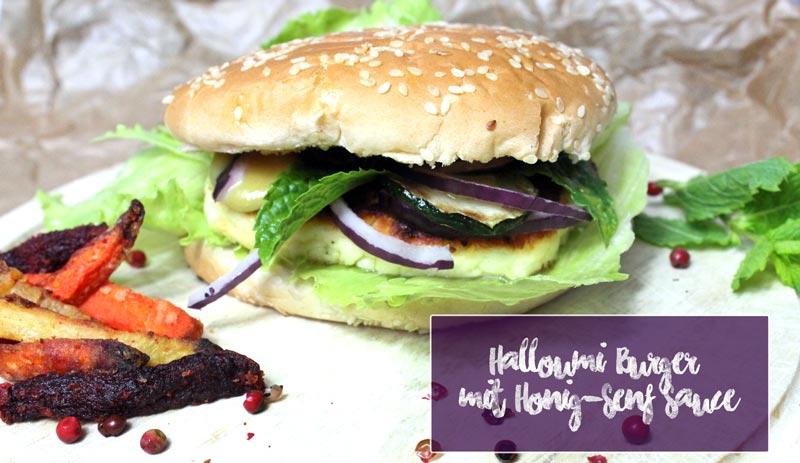 vegetarisch grillen Halloumi Burger mit Gemüse Pommes und Honig Senf Sauce